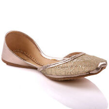 UNZE LADIES 'GEMI' HANDMADE LEATHER INDIAN KHUSSA PUMPS UK SIZE 3-8 GOLD