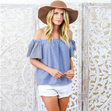 Summer Women Ruffles Off Shoulder Striped Tops Ladies Casual Shirts Blouse Tees
