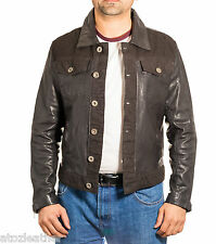 Mens Black Dual Material Real Leather Fitted Smart Denim Button Style Jacket