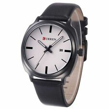 Fashion Casual Men's Women's PU leather Sport Date Analog Quartz Wrist Watch