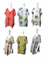 New Italian Quirky Linen Floral Print Kaftan Style Tunic Top Dress Short Sleeve