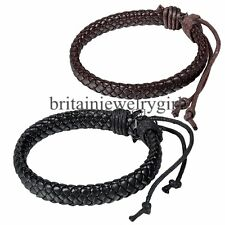Men Women Black/Brown PU Leather Braided Surfer Adjustable Cuff Bracelet Gift