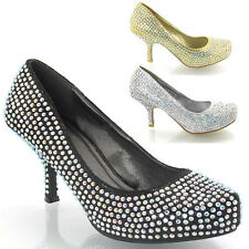 NEW WOMENS GLITTER DIAMANTE LADIES MID PLATFORM BRIDAL PROM WEDDING SHOES SIZE