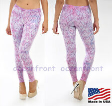 NWT T-Party Purple Leggings Lavender TRIBAL Diamond Print Pants Activewear S M L