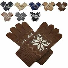 Men's Full Finger Wooly Cuff Gloves w/ Fluffy Lining SNOWFLAKE SPIRAL PATTERN