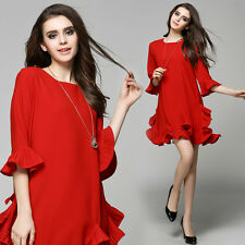 2016 New Arrival Summer Fashion Womens Red Loose Ruffled Hem Vintage Mini Dress