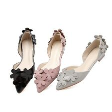 Womens Vogue Floral Casual Flats Pointed Toe Pumps Patent Leather Dress Shoes SZ