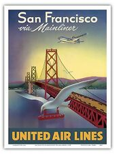 San Francisco Oakland Bay Bridge Vintage Airlien Travel Art Poster Print