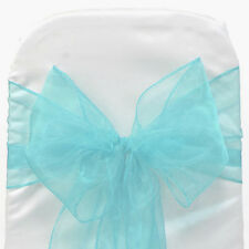 Turquoise ORGANZA SASH BOW CHAIR COVER BOWS DECORATION FOR WEDDING PARTY