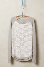 Anthropologie Laceveil Pullover Size S Gray Top w/ Lace Overlay, Knitted Knotted