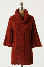 Anthropologie Un-Cabled Pullover M/L, Red Wool Turtleneck Tunic, Gro Abrahamsson