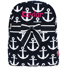 Personalized Quilted Navy Nautical Anchor Kids Backpack MONOGRAM Embroidery