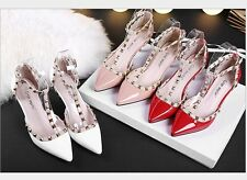 Chic Women Mid Kitten High Heels Sandal Shoes Rivet Pointy Toe Strappy New Pumps