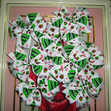 "5"" Boutique Chistmas Printed Grosgrain Pinwheel Grils Baby Hair Bow With Clip"