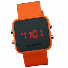 Orange Jelly Silicone LED Digital Men Womens Square Creative Watch Mirror Sport
