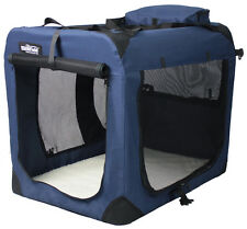 EliteField Navy Blue 3-Door Folding Soft Dog Crate Cage Kennel 4 Sizes