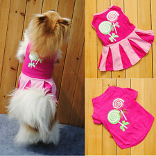 Cute Candy Pattern Puppy Dog Doggie Apparel Clothes T-shirt Vest Hoodies Dress