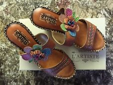 "SPRING STEP L'ARTISTE LADIES SHOES ""OCEANSIDE"" CAMEL LEATHER SANDALS NEW W/BOX"