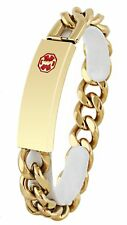 New DOC TOCK Stainless Steel or Ion Gold Plated Medical Alert ID Link Bracelet