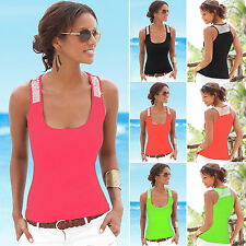 New Womens Pure Color Vest Sequin Scoop Neck Blouse Casual Tank Top Cami T-Shirt