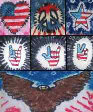 Handmade tie dye ADULT shirt - AMERICAN PATRIOTIC HEART EAGLE PEACE ROCKER HAND