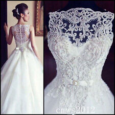 New Long Sleeve A-Line Lace Wedding Dress Bridal Gown Custom 6-8-10-12-14-16-18+
