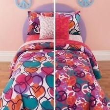 NEW Twin Full Bed Bag 8 pc Girls Pink Hearts Peace Sign Comforter Sheets Set NWT