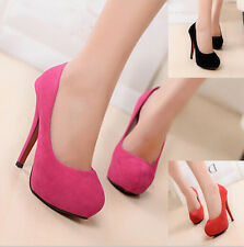 Womens Suede High Heels Shoes Platforms Stilettos Bridals Court Prom Work Pumps