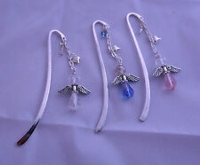 ANGEL charm BOOKMARK gift CRYSTAL glass SILVER card BLUE PINK CLEAR
