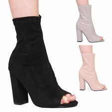 LADIES WOMENS HIGH HEEL ANKLE BOOTS PEEP TOE FASHION STYLE SUMMER CASUAL SHOES