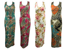 WOMENS LADIES SLEEVELESS FLORAL CHAIN PRINT MAXI DRESS RACER BACK MAXI SIZE 8-14