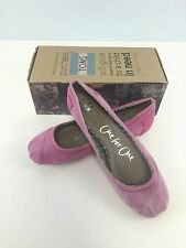 NEW Toms Women's Eliana Suede Classic Ballet Flat Pink Leather Slip-On MSRP $79