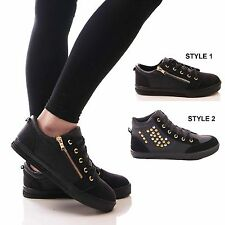 LADIES WOMENS TRAINERS LACE UP ANKLE BOOTS BLACK FLAT CASUAL SHOES SIZE