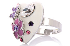 Hearts Shape Flower Costume Jewellery Cocktail Ring One Size Swarovski Crystals