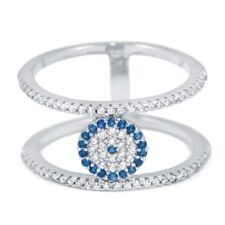 Double Bar Evil Eye Pave Silver Cubic Zirconia Cz Ring Blue White Color
