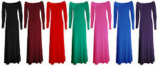 NEW LADIES BARDOT OFF SHOULDER LONG SLEEVE JERSEY MAXI DRESS PLUS SIZE 6-20