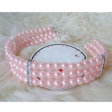 Pet Dog Puppy 3 Rows Pearls Crystal Necklace Collar Jewelry Charm Pendant