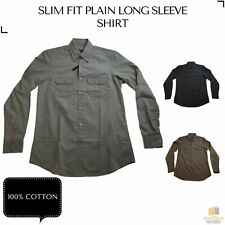 Men's Plain Slim 100% Cotton Long Sleeve Shirt Button Up Stylish Business Casual