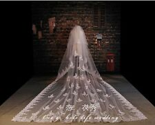 3M White/Ivory Wedding Cathedral Lace Appliques Veils Formal Bridal  Veils