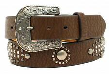Nocona Western Womens Belt Leather Rhinestones Studs Concho Brown N3499302