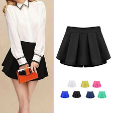 Fashion Women Candy Color High Waist Pleated Mini Skirt Shorts Culotte Pants