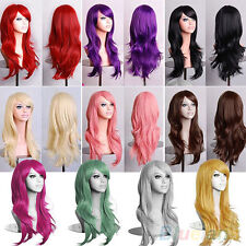 New Womens Lady Long Hair Wig Curly Wavy Synthetic Anime Cosplay Party Full Wigs