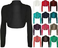 NEW LADIES PLUS SIZE CROPPED LONG SLEEVE CARDIGAN SHRUG BOLERO JACKET TOP 14-20