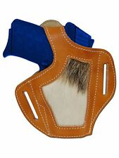 New Barsony Hair on Hide Tan Leather Pancake Holster Ruger Kimber 380 Small 9mm