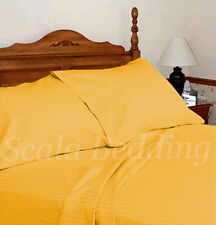 100% EGYPTIAN COTTON 1000-TC COMPLETE USA BEDDING SETS STRIPED GOLD ALL SIZES