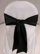 LOT OF Black Satin Chair Sash Bow Band Tie Wedding Banquet Decoration..FREE S&H