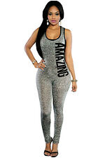 Sexy woman Grey Plunging V Back Letter Print Sleeveless Jumpsuit romper trousers