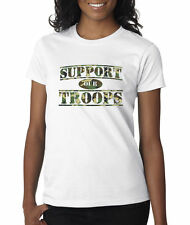 Support Our Troops Military Camo USA America Veterans Ladies T-Shirt S-2XL