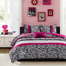 Girls Teen Pink Black  DAMASK DOTS ZEBRA STRIPE Comforter Bedding Set TWIN/FULL