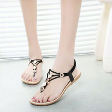 New Womens Summer BOHO Slippers Flip Flops Metal Flats Sandals Beach Thong Shoes